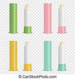 Vector Realistic 3d Blank Closed and Opened Lip Balm Stick...