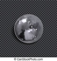 Vector Realistic 3D Metallic Ball with Shadow Isolated on Dark Transparent Background.
