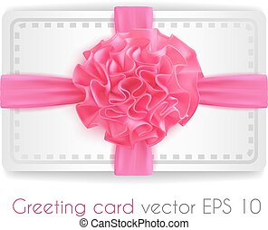 Vector realistic 3d pink silk ribbon with bow isolated -...