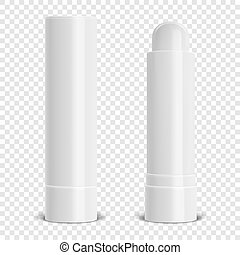 Vector realistic 3d white blank glossy closed and opened lip...