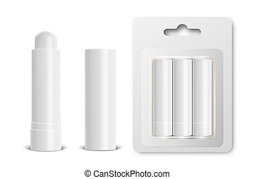 Vector realistic 3d white blank glossy closed, opened, in...