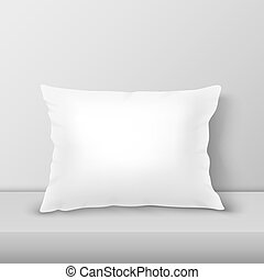 Vector Realistic 3d White Pillow Closeup on Table, Shelf...
