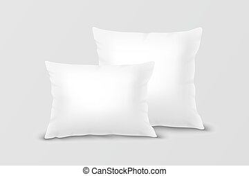 Vector Realistic 3d White Pillow Set Closeup Isolated on...