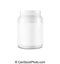 Vector Realistic 3d White Plastic Jar, Can with Lid Closeup...
