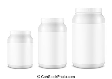 Vector Realistic 3d White Plastic Jar, Can with Lid Set...