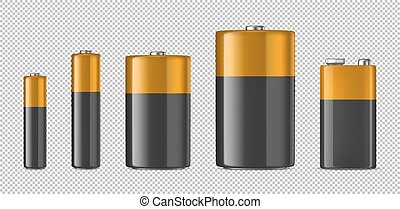 Vector realistic alkaline batteriy icon set. Diffrent size - AAA, AA, C, D, PP3. Design template for branding, mockup. Closeup isolated on transparent background. Stock vector.