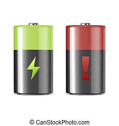 Vector realistic alkaline charging batteries icon set....