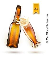 Vector realistic beer bottle, splashing from glass
