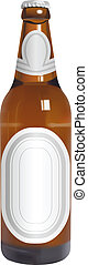 beer bottle - vector realistic beer bottle with blank labels