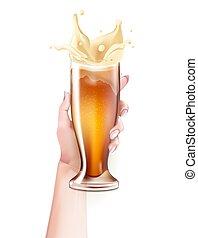 Vector realistic beer glass splashing in hand