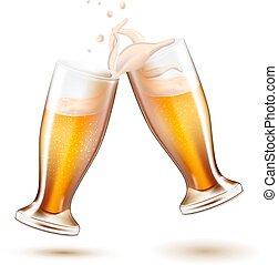 Vector realistic beer glasses toasting splashing