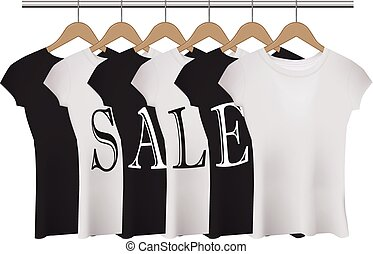 Vector realistic black and white t-shirts with SALE word.