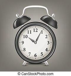 Vector realistic black retro alarm clock. Design template in EPS10.