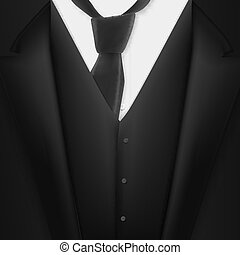 Vector Realistic Black Suit. Photorealistic 3D Mens Elegant Tuxedo Suit with Neck Tie