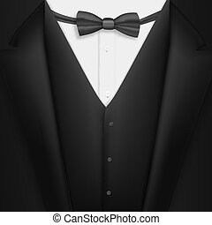 Vector Realistic Black Suit. Photorealistic 3D Mens Elegant Tuxedo Suit with Bow Tie