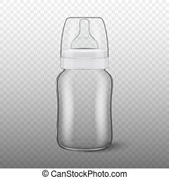 Vector realistic blank baby bottle icon with cap closeup isolated on transparency grid background. Sterile empty milk container design template, mockup for graphics