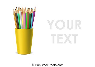 Vector realistic blank plastic cup-stand with a set of colored pencils. Closeup isolated on white background. Design template, icon, clipart or mockup for graphics - web, app. Front view