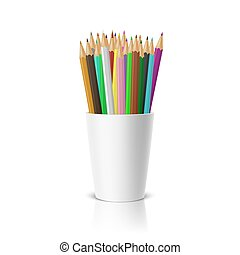 Vector realistic blank plastic cup-stand with a set of colored pencils. Closeup on white background with reflection. Design template, icon, clipart or mockup for graphics - web, app. Front view