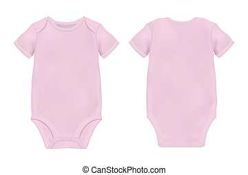 Vector Realistic Blue Blank Baby Bodysuit Template, Mock-up...
