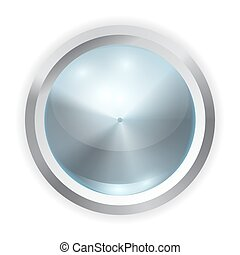 Vector realistic blue glass button with metal frame and reflection of light