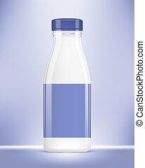 Vector realistic bottle of yogurt on blue background