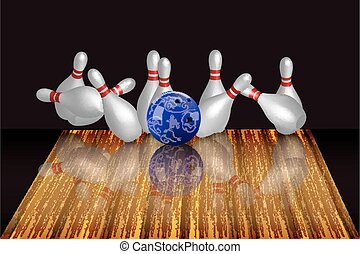 Vector realistic bowling illustration on dark background.
