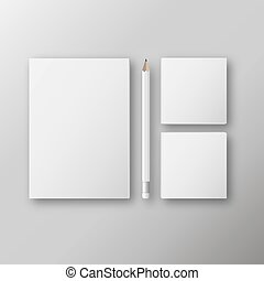 Vector realistic branding mock up, isolated on white ...