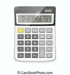 Vector realistic calculator isolated on white background.