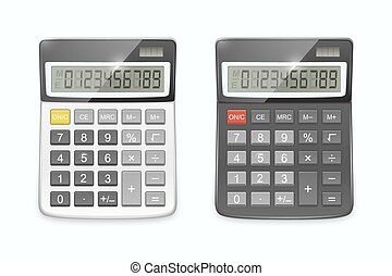 Vector realistic calculator set, isolated on white background.