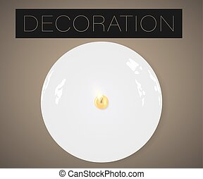 Vector realistic candle on plate with light isolated