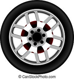 Vector realistic car alloy wheel isolated