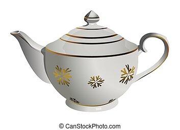 Vector realistic ceramic tea pot with snowflake ornament