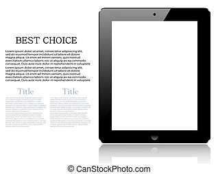 Vector realistic computer tablet isolated on white background. Eps10