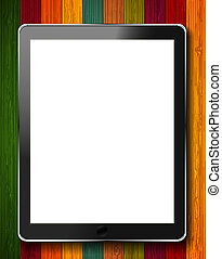 vector realistic computer tablet on colorful wooden background. Eps10