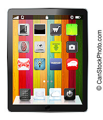 vector realistic computer tablet with app icon on colorful wooden background. Eps10
