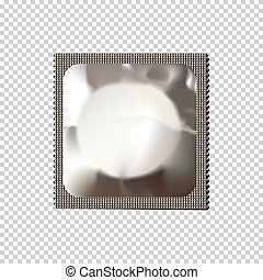 Vector realistic condom isolated on transparent background.