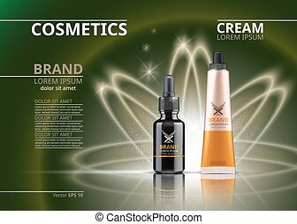 Vector Realistic Cosmetics package. Hydrating Under Eye Gel tube and face serum. Beauty products with logo label design. 3d set collection on sparkling background