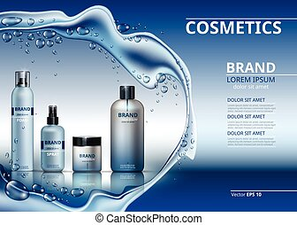 Vector Realistic Cosmetics set collection packages. Bottles...