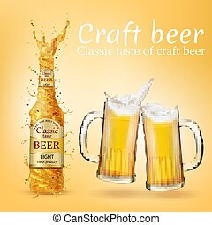 Vector realistic craft beer poster, advertising banner