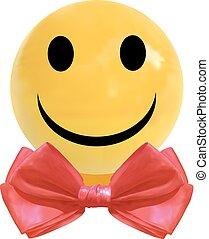 VECTOR realistic dragee candy with smiley face and red bow tie