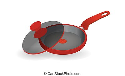 Vector realistic empty frying pan icon in top view isolated on transparent background. Design template