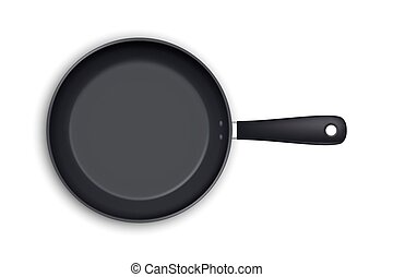 Vector realistic empty frying pan icon in top view isolated on white background. Design template.