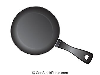 Vector realistic empty frying pan, top view isolated on white background.