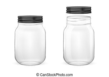 Vector realistic empty glass jar for canning and preserving set with black lid - open and closed - closeup isolated on white background. Design template for advertise, branding, mockup. EPS10.
