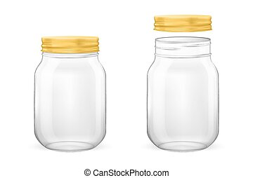 Vector realistic empty glass jar for canning and preserving set with golden lid - open and closed - closeup isolated on white background. Design template for advertise, branding, mockup. EPS10.