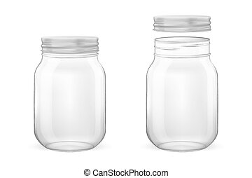 Vector realistic empty glass jar for canning and preserving set with silvery lid - open and closed - closeup isolated on white background. Design template for advertise, branding, mockup. EPS10.