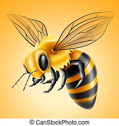 Vector realistic flying bee natural honey product