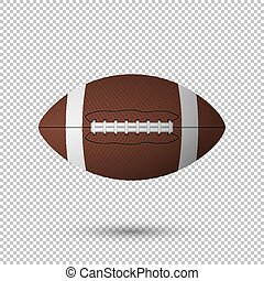 Vector realistic flying football closeup isolated on transparent background. Design template, EPS10 illustration.