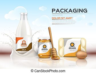 Vector realistic food products Milk and honey bottles, eggs packaging. 3d detailed mock up label designs