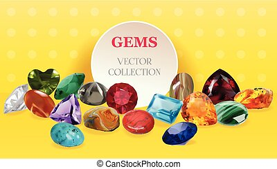 Vector Realistic Gems Jewerly Stones Big Collection Composition  On Yellow Background